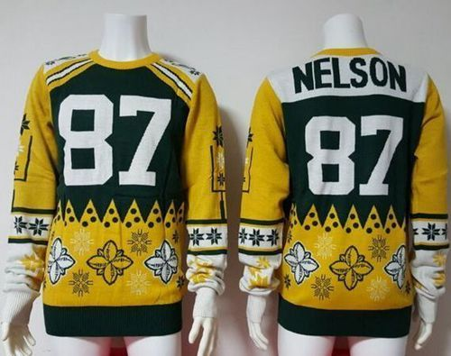 Nike Packers  87 Jordy Nelson Green Yellow Men s Ugly Sweater  5c8c18f51