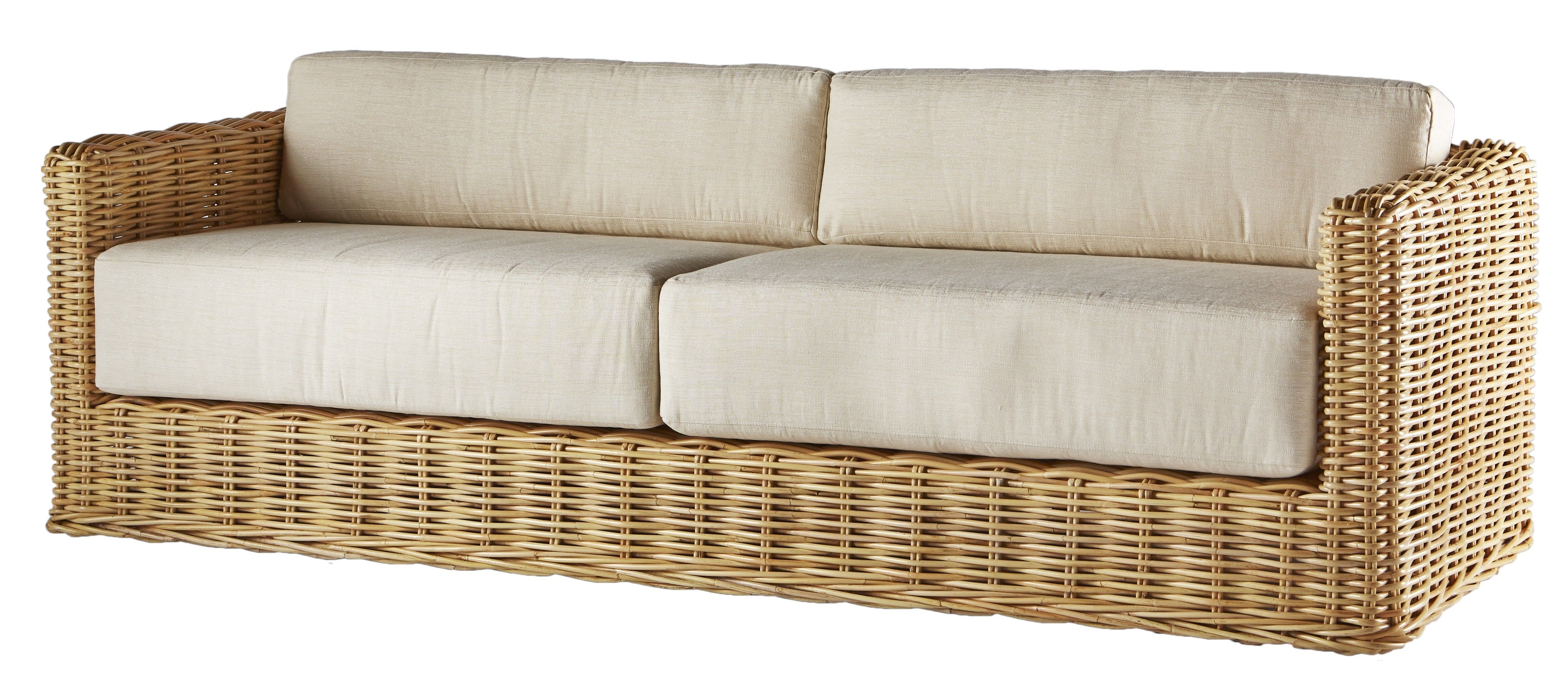 A Modern Squared Design Keeps This Rattan Sofa Fresh And Cool We
