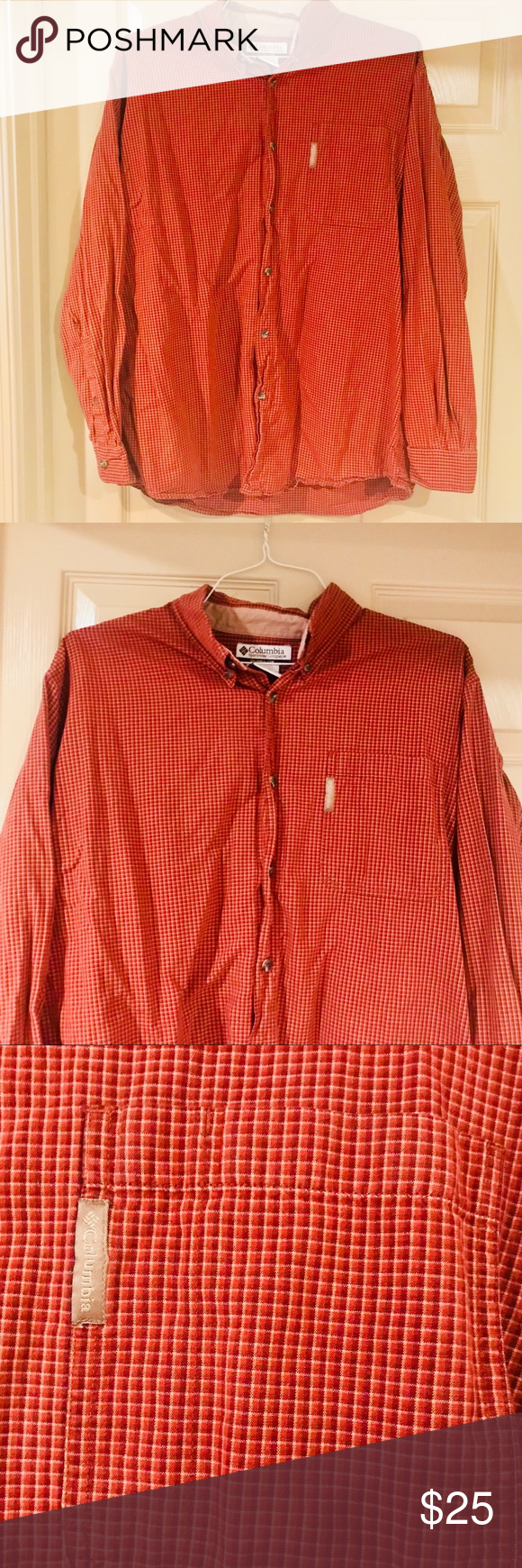 Red flannel 2018  Columbia casual shirt red mens xl in   My Posh Closet