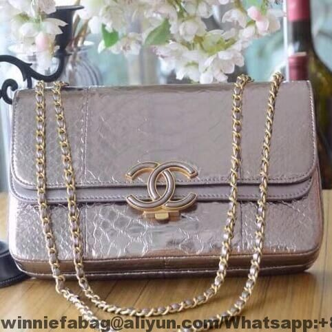 Chanel Medium Python Leather Lambskin Double Flap Bag A57276 Replica Handbags Review