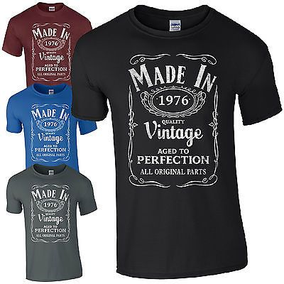 a00d0efe222 Made in 1976 T-Shirt Born 40th Year Birthday Age Present Vintage Funny Mens  Gift