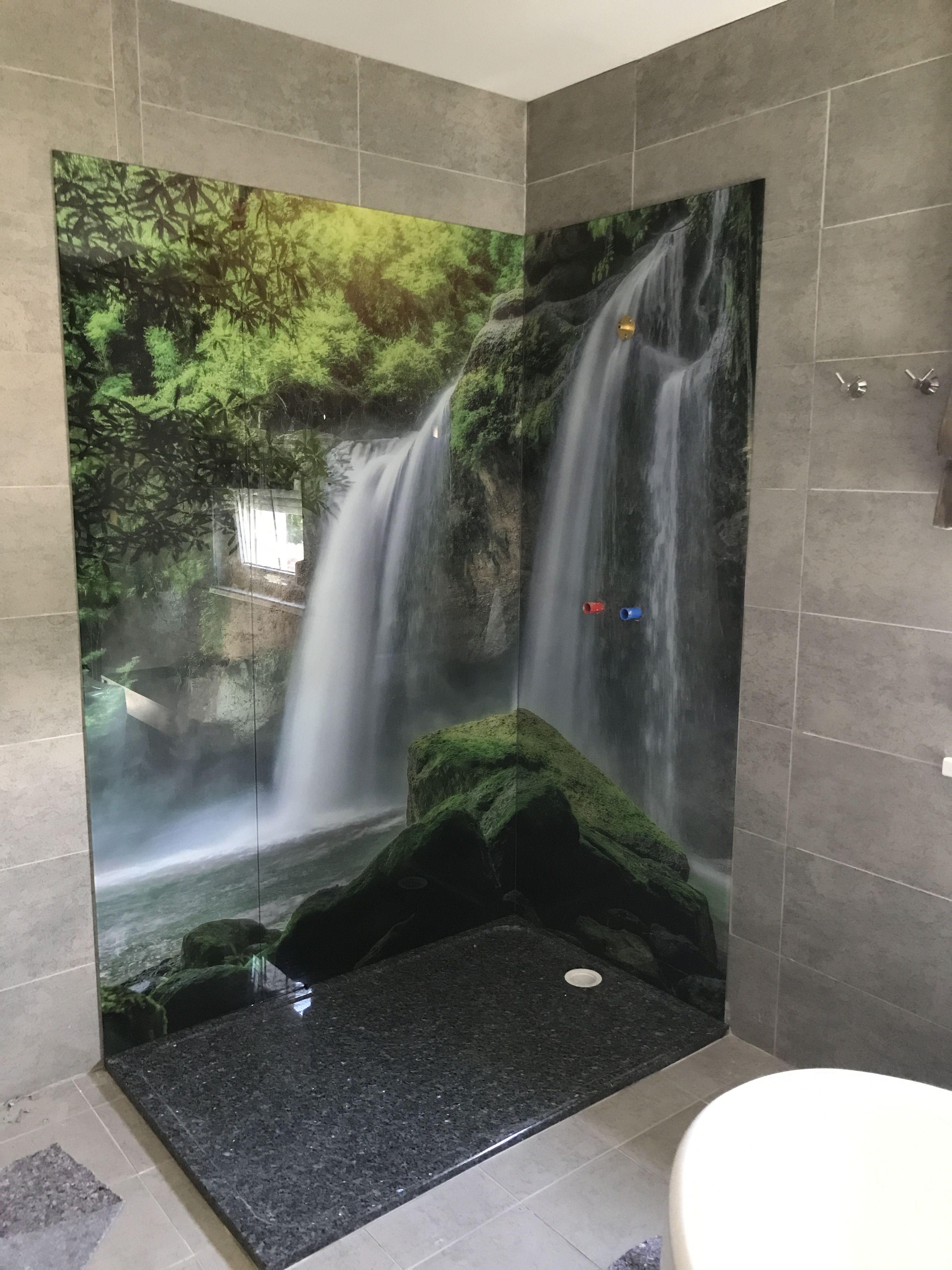 Ruckwand Der Dusche Aus Glas Bedruckt Wasserfall Dusche Selber