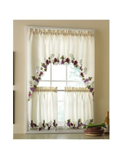 Details about 3 pc. Kitchen Curtains Set: 2 Tiers (30\