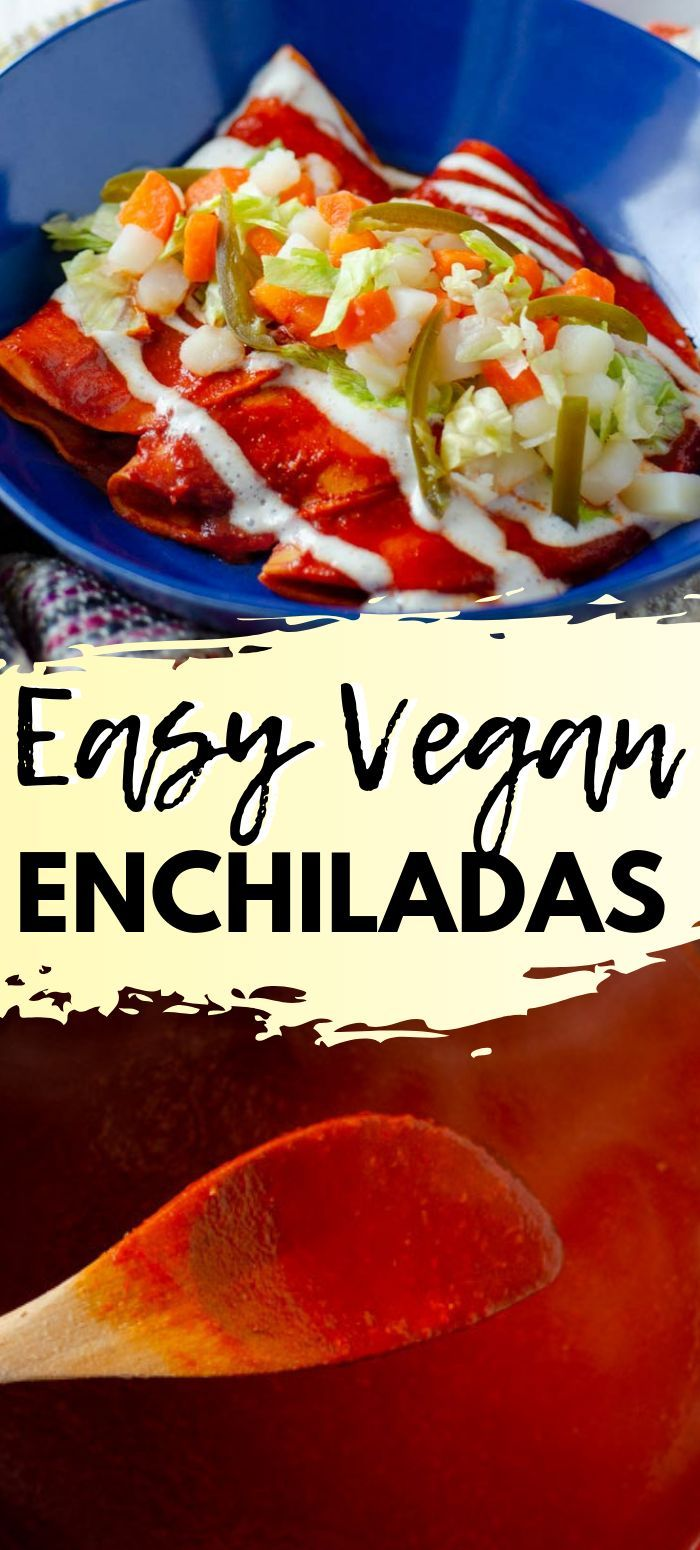 Easy Vegan Enchiladas, the ultimate Mexican comfort food. These are filled with sautéed mushrooms, and vegan cheese, and topped with a vegan crema