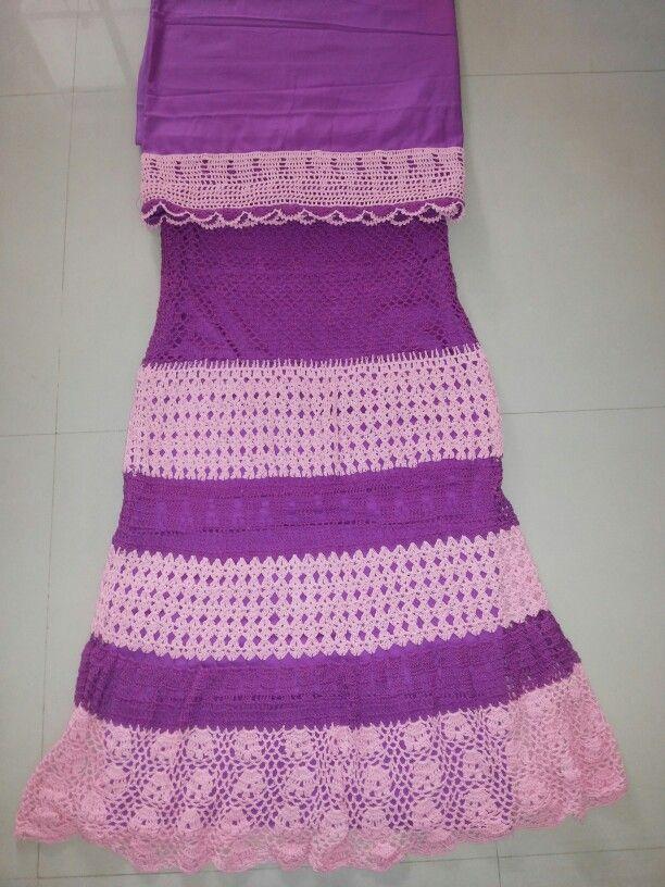 Purple and baby pink combination. | Full Crochet ghagra | Pinterest ...