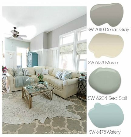 dorian gray family room reveal with gallery wall paint color palette - Home Decor Color Palettes
