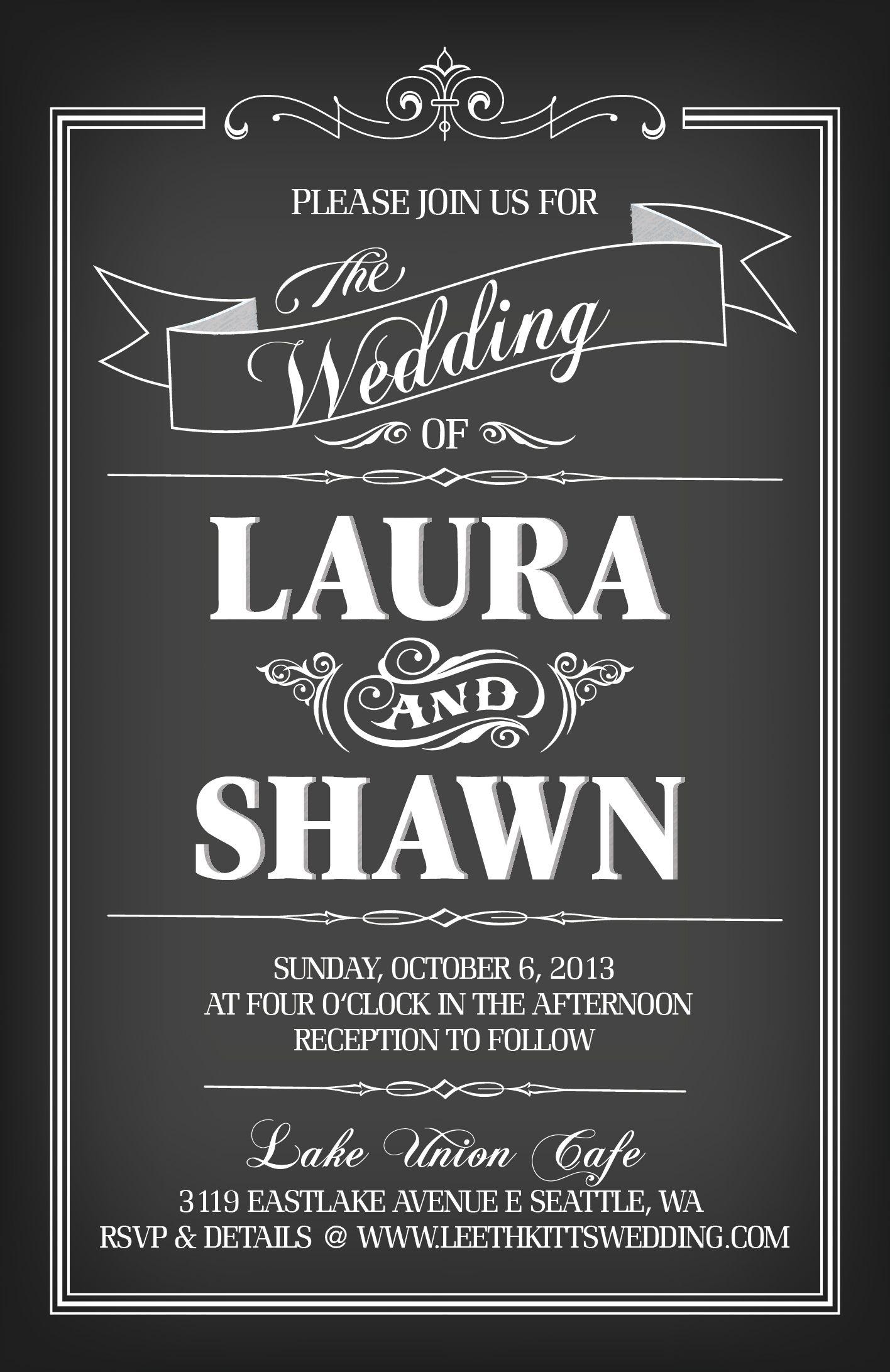 Wedding Invitation - chalkboard style. Template ordered through Etsy ...