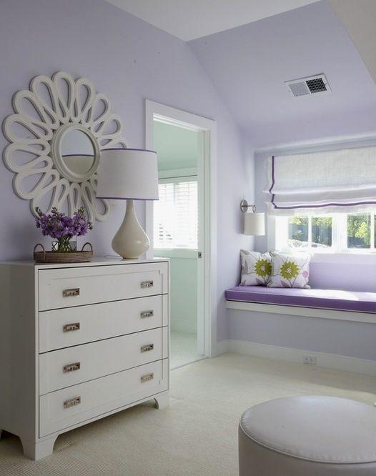 Purple Bedroom Bench: Quaint, Soft Lavender Teen Girl's Bedroom. Get The Look