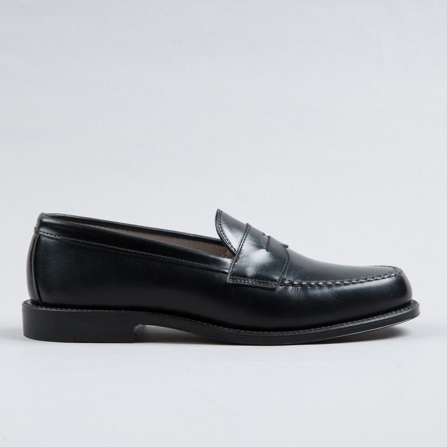 Alden leisure handsewn penny loafer black calfskin supply