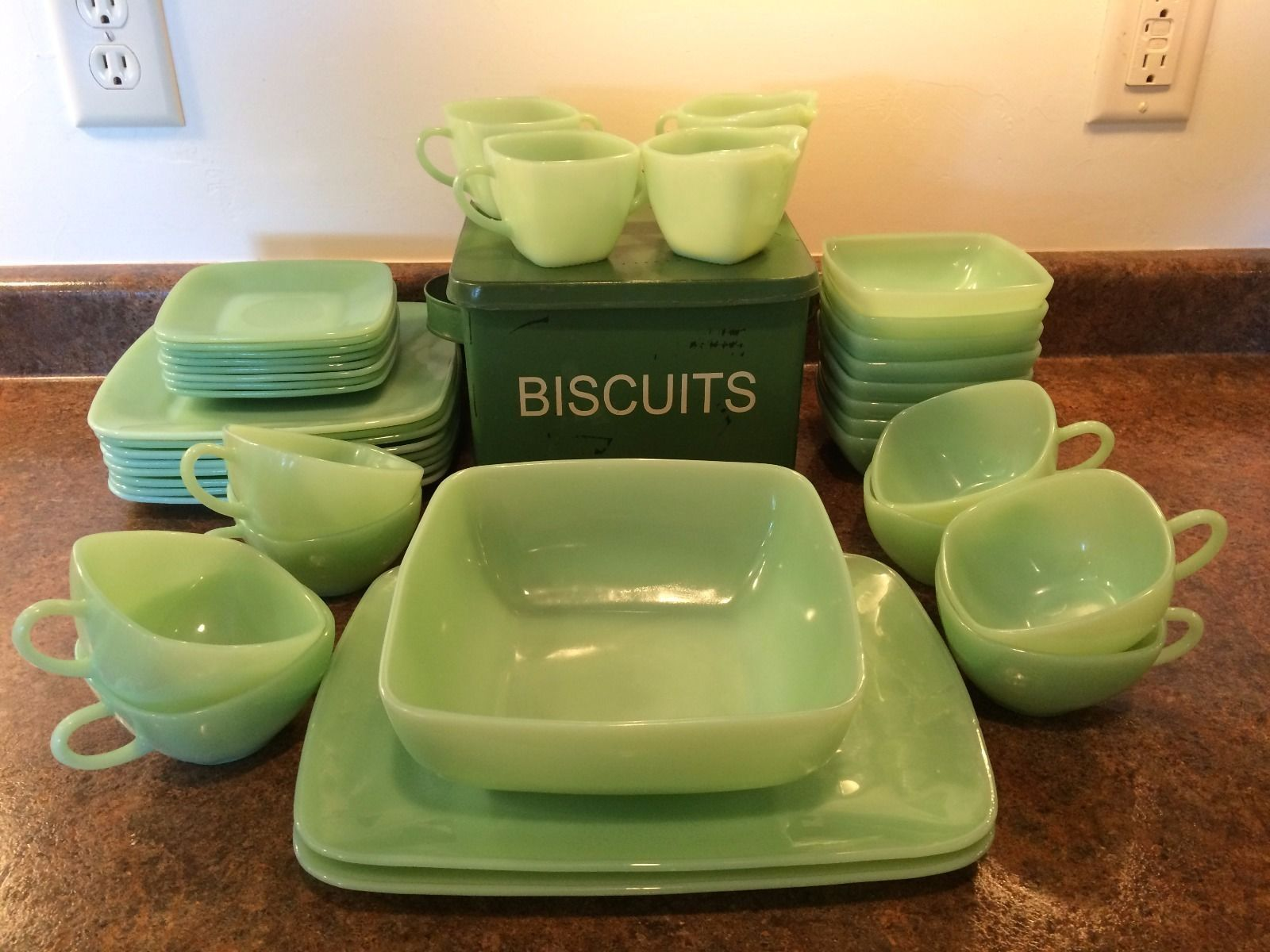 Vintage Jadeite Dish Set Fire King Green Charm Pattern by Anchor ...