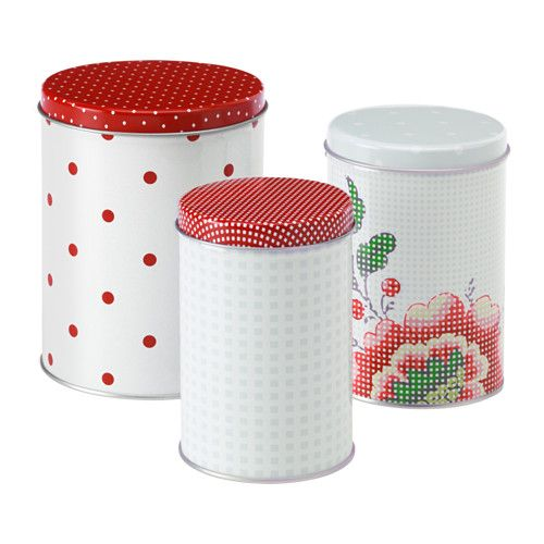 IKEA - INBJUDANDE, Set di 3 barattoli con coperchio, Adatto al ...