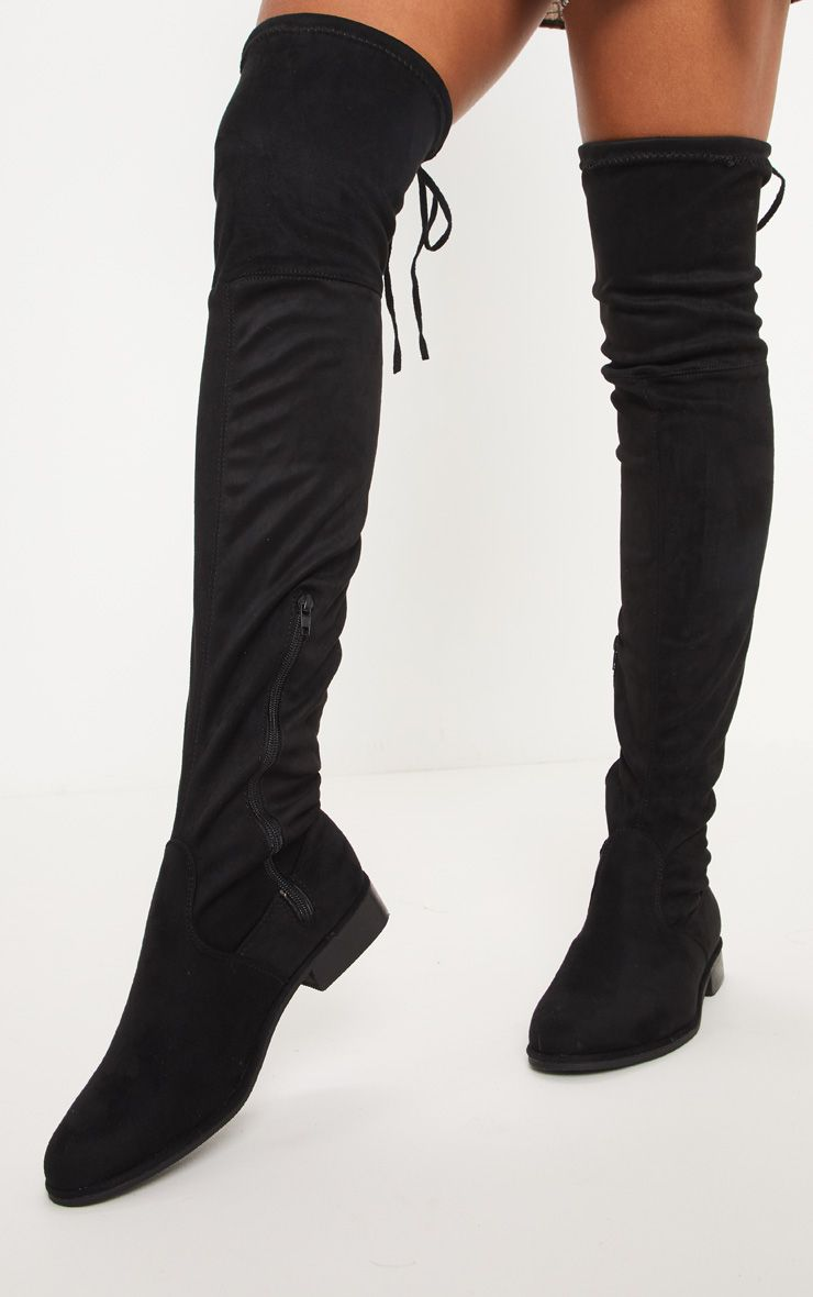 Black Flat Over The Knee Boot   Over