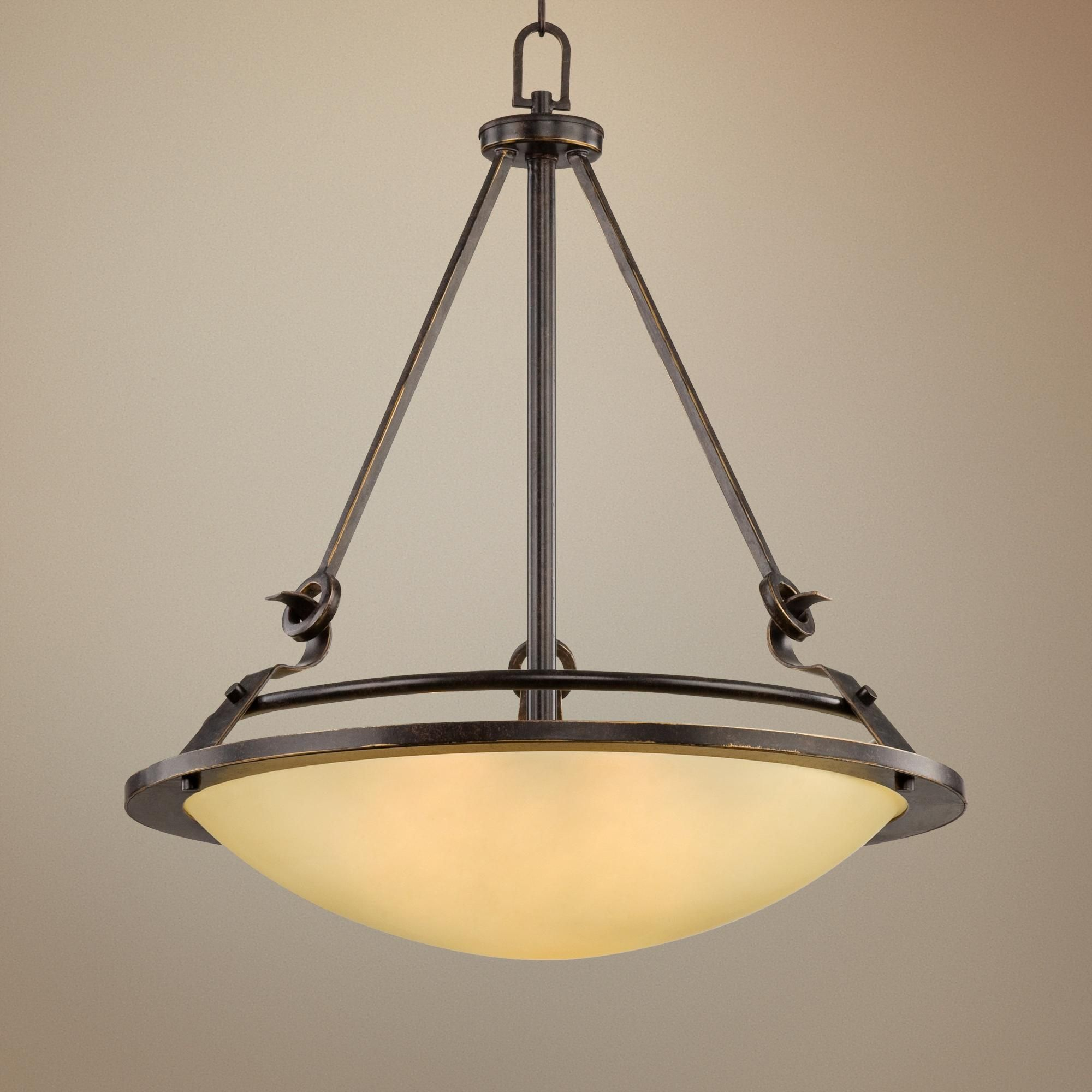 Bronze 21 Wide Amber Bowl Pendant Light Home In 2019