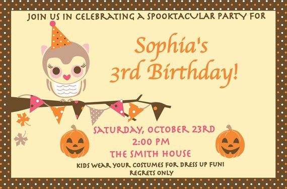 owl birthday halloween party invitation by jennajoyce8