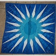 Vintage Vera Neumann Designer Signed Scarf Sun Rays Blue White