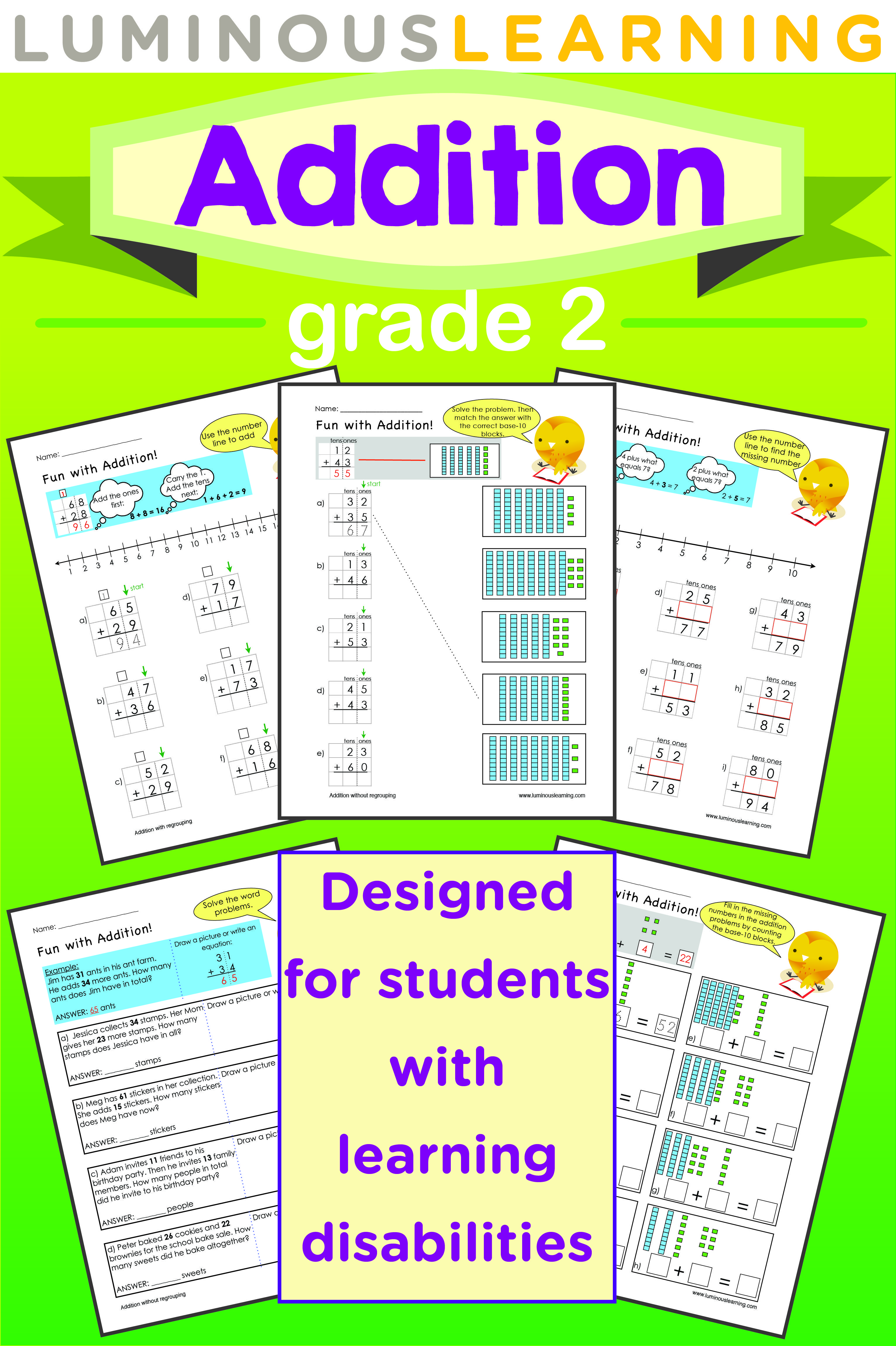 Grade 2 Addition Printable Workbook | Worksheets, Math and Students