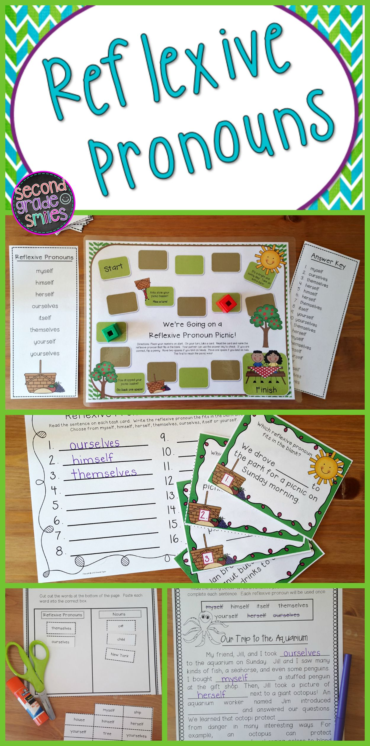 Reflexive Pronouns Task Cards Game Printables Amp More