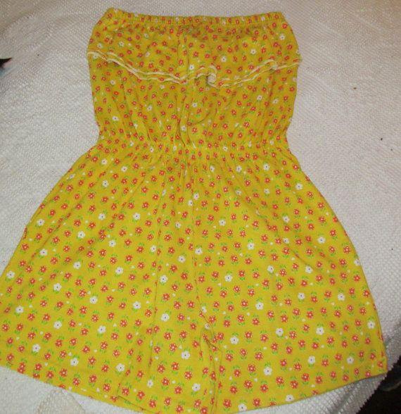 Vtg Jr Originals Romper Floral Strapless Yellow by ThenForNow, $18.99