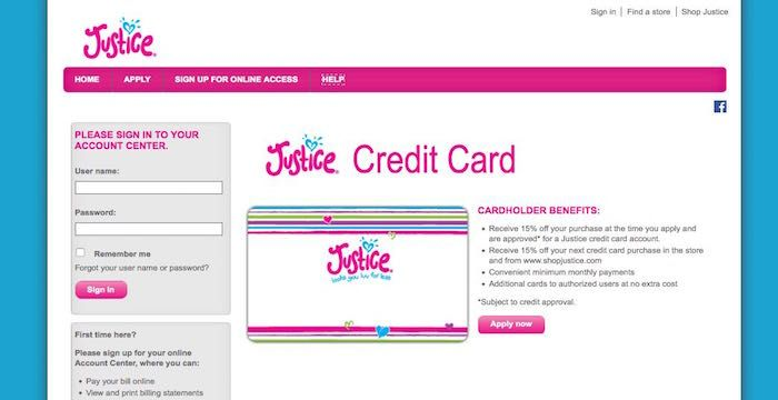 Image result for Justice Credit Card Login