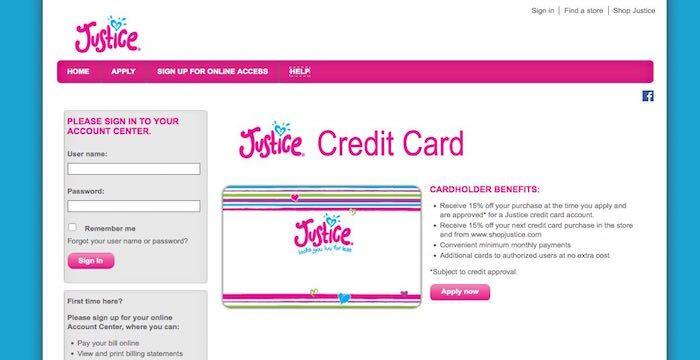 Image result for Justice Credit Card Login