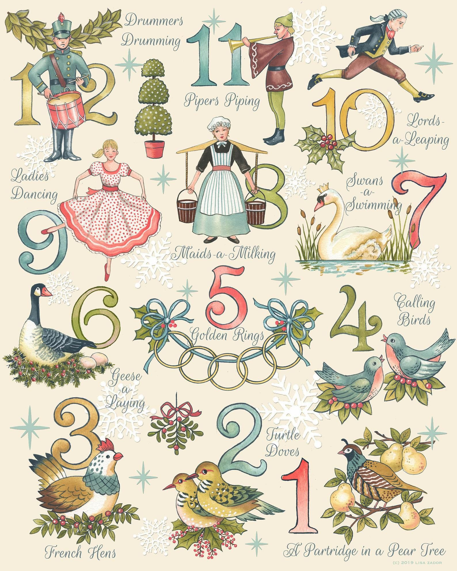 Twelve Days Of Christmas Print 12 Days Partridge Turtle Etsy Christmas Prints Twelve Days Of Christmas 12 Days Of Christmas
