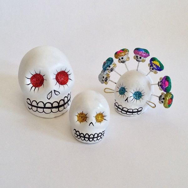 White Clay Day of the Skulls with Glitter Eyes, 3 Sizes || Zinnia Folk Arts