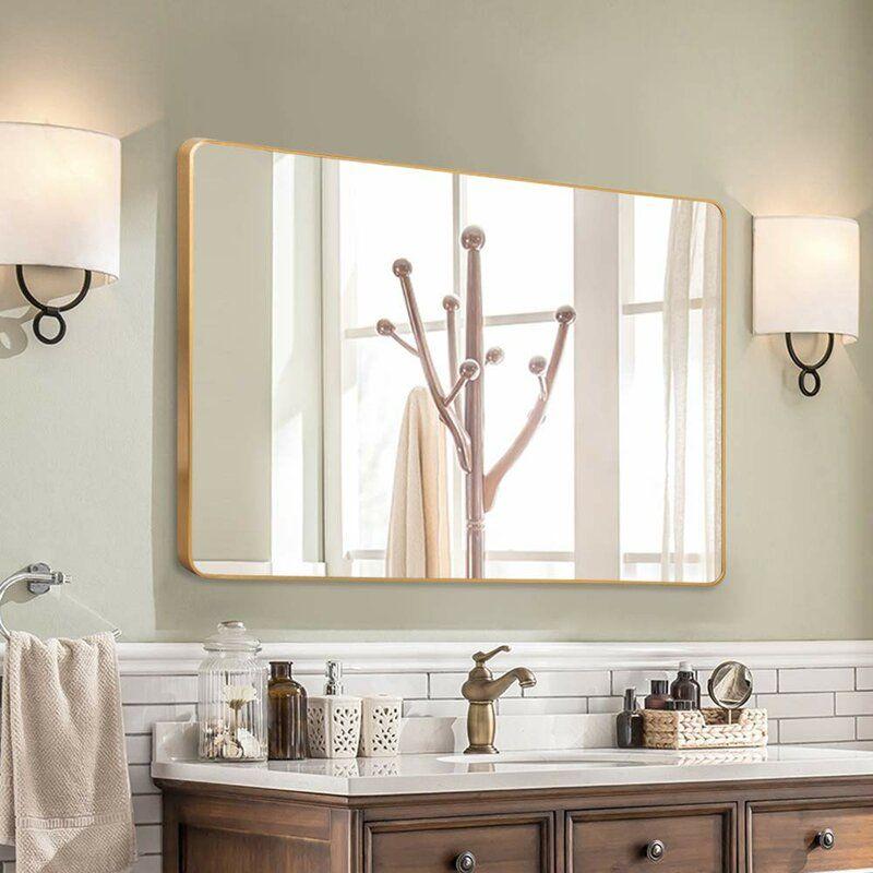 Flippo Rectangular Round Corner Wall Mounted Bathroom Vanity Mirror In 2020 Bathroom Vanity Mirror Gold Mirror Bathroom Large Bathroom Mirrors