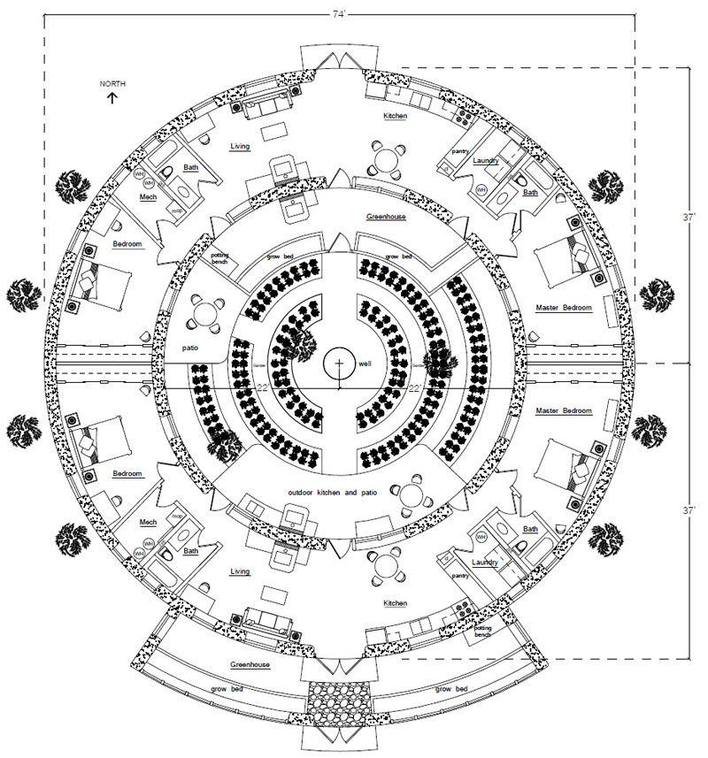 The Torus design green home floor plan. 2,224 sq ft