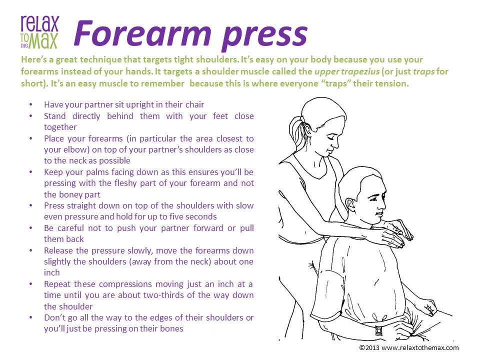 Forearm Press Chair Massage Technique Chair Massage Techniques Massage Marketing Lymph Massage