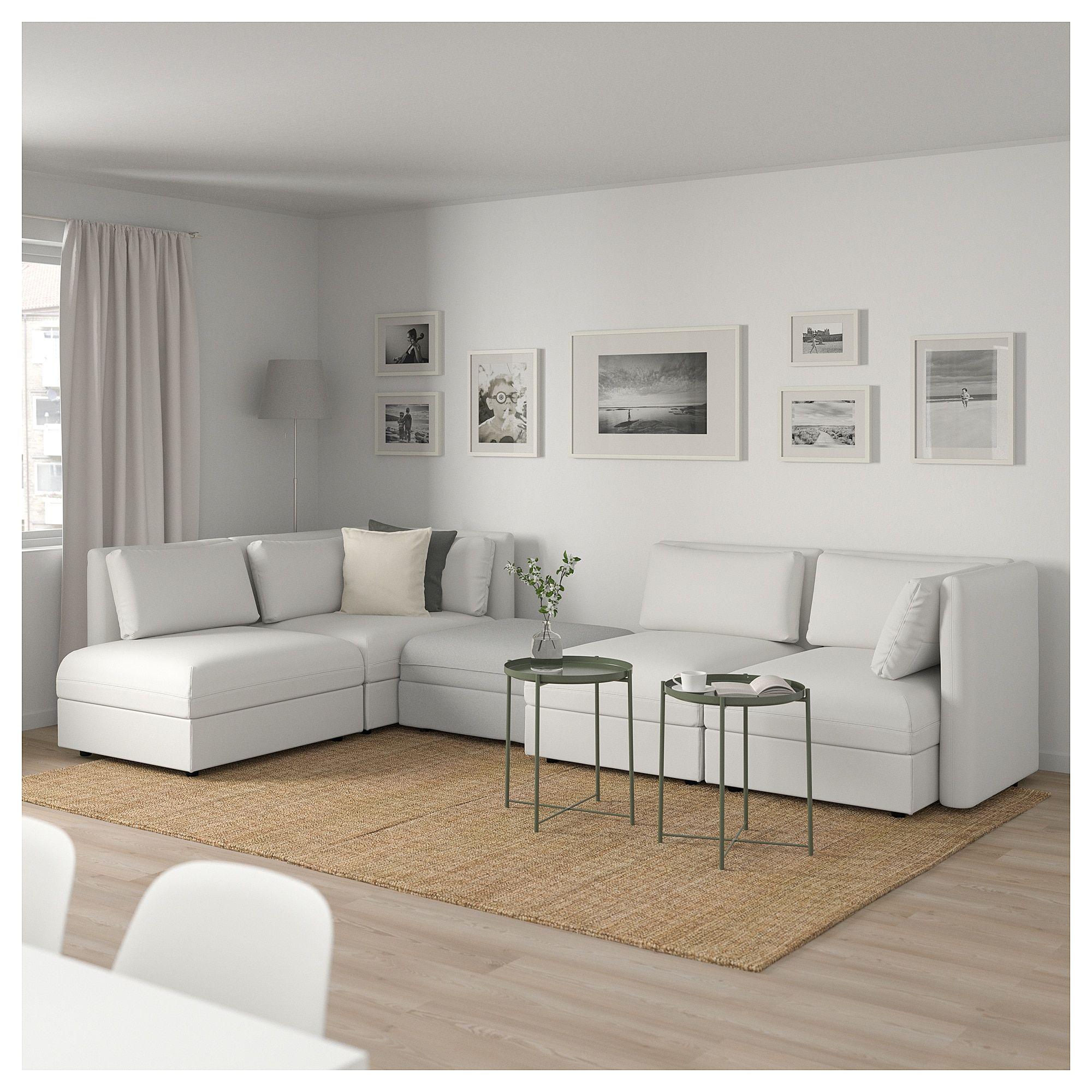 Vallentuna Modular Corner Sofa 4 Seat With Storage Murum Orrsta White Light Gray Ikea Modular Corner Sofa Vallentuna Corner Sofa