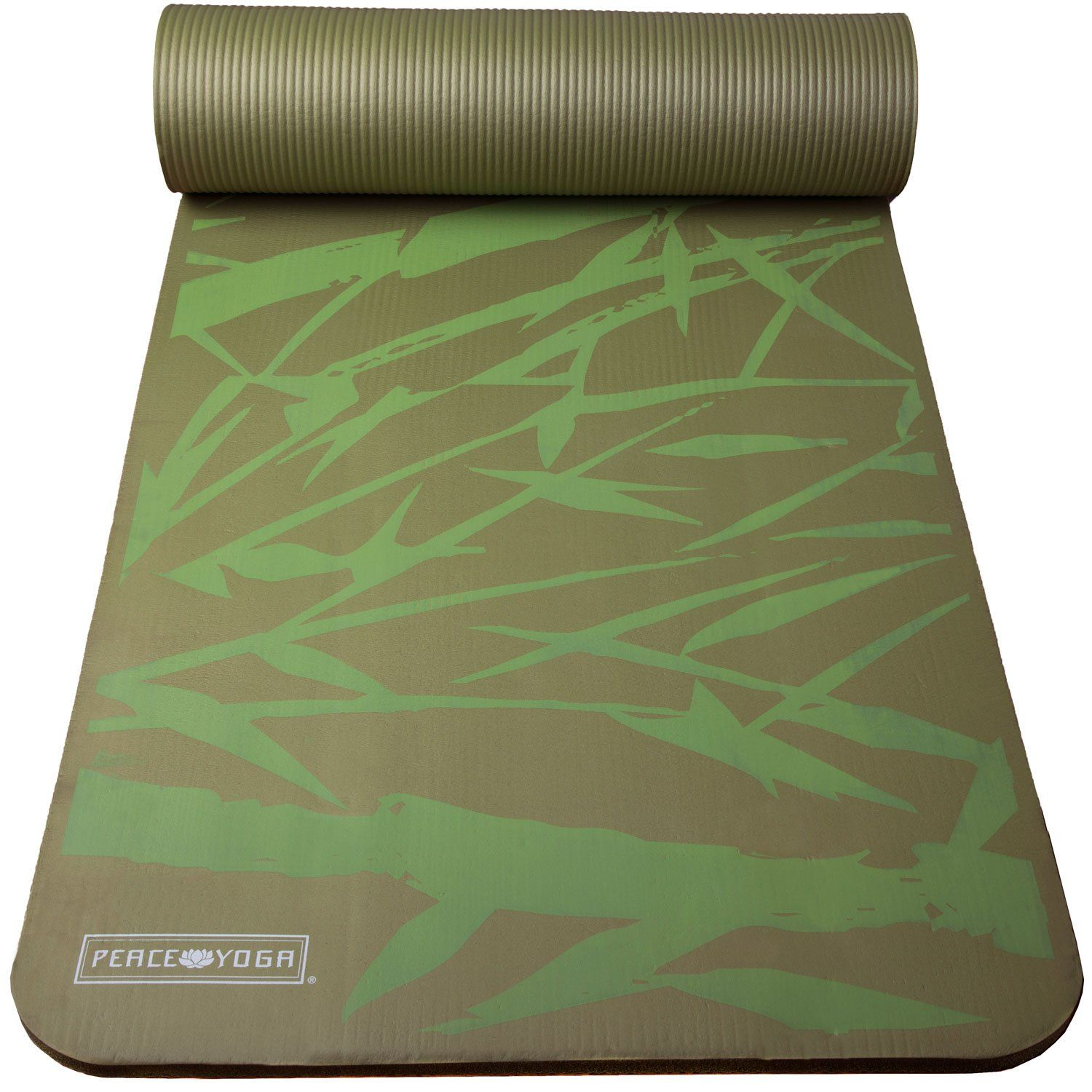 Peace Yoga Extra Thick Exercise Mat Green Green Bamboo Inch Package Includes Peace Yoga Green 1 2 I Thick Exercise Mat Mat Exercises Difficult Yoga Poses