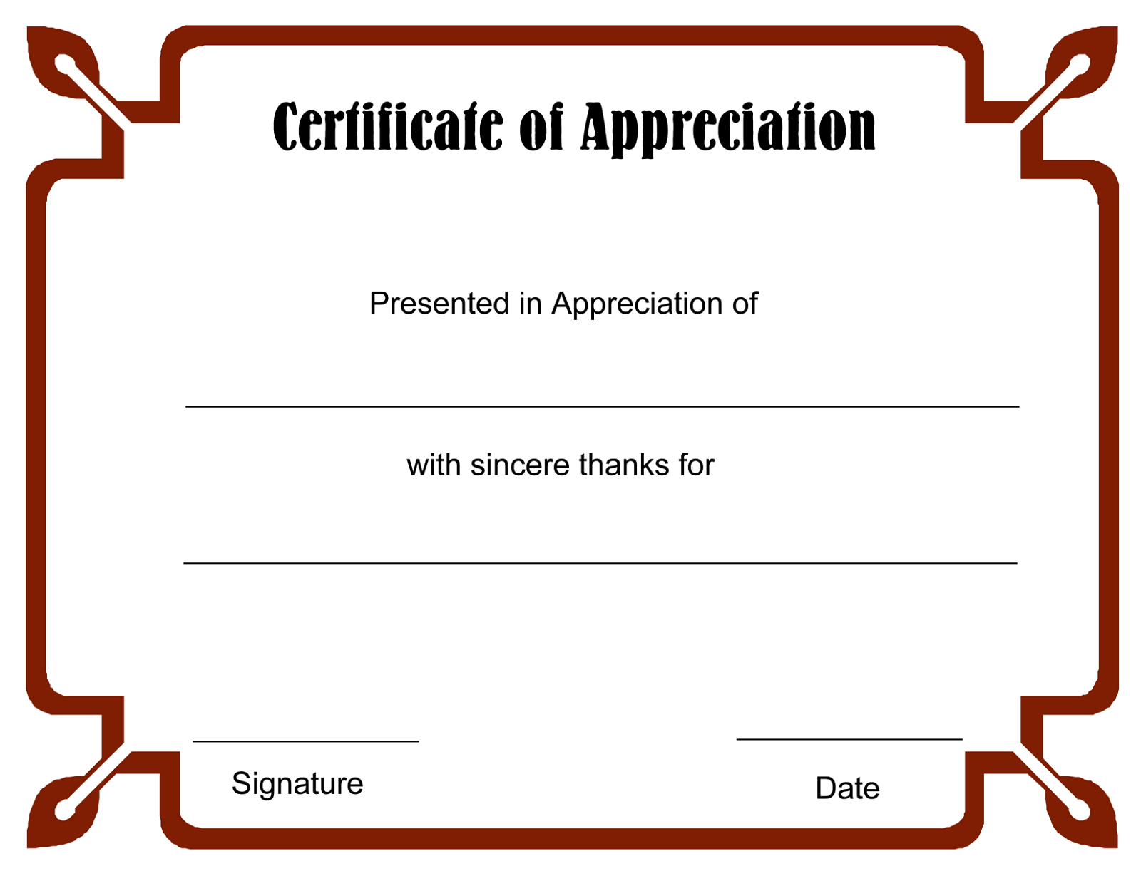 Free Printable Certificate Of Recognition formal dinner menu – Sample Printable Certificate Template