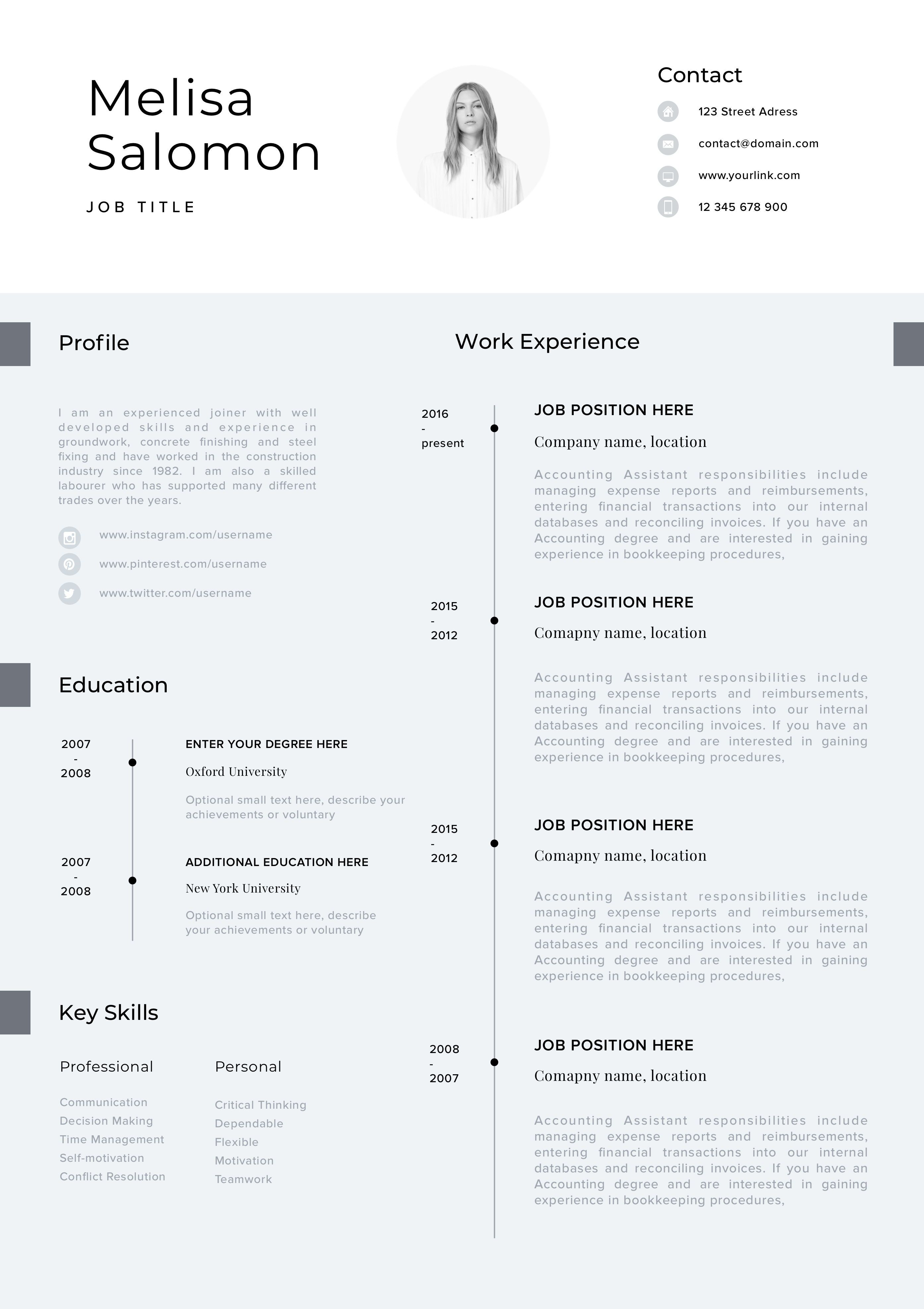 Cv Template Professional Resume Template With Photo Word