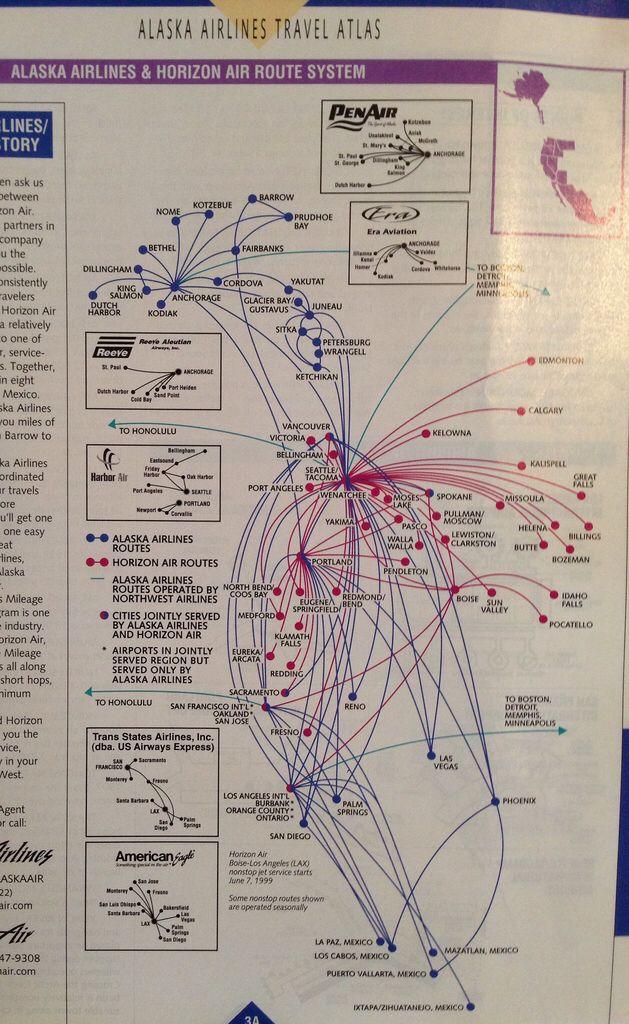 Alaska and Horizon route map, June 1999 | Route maps | Alaska ...