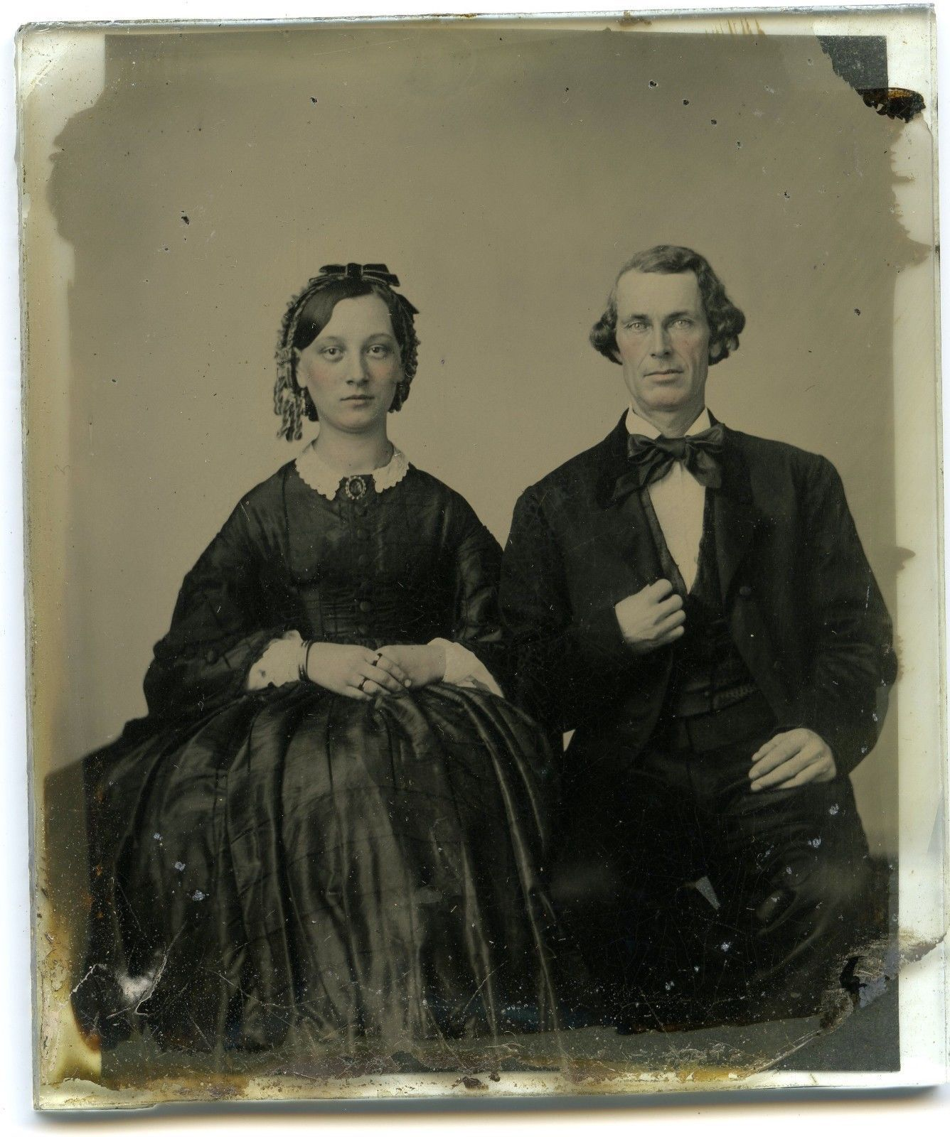 1 6 Plate Cased Ambrotype Handsome Charles White Beautiful Pregnant Wife | eBay