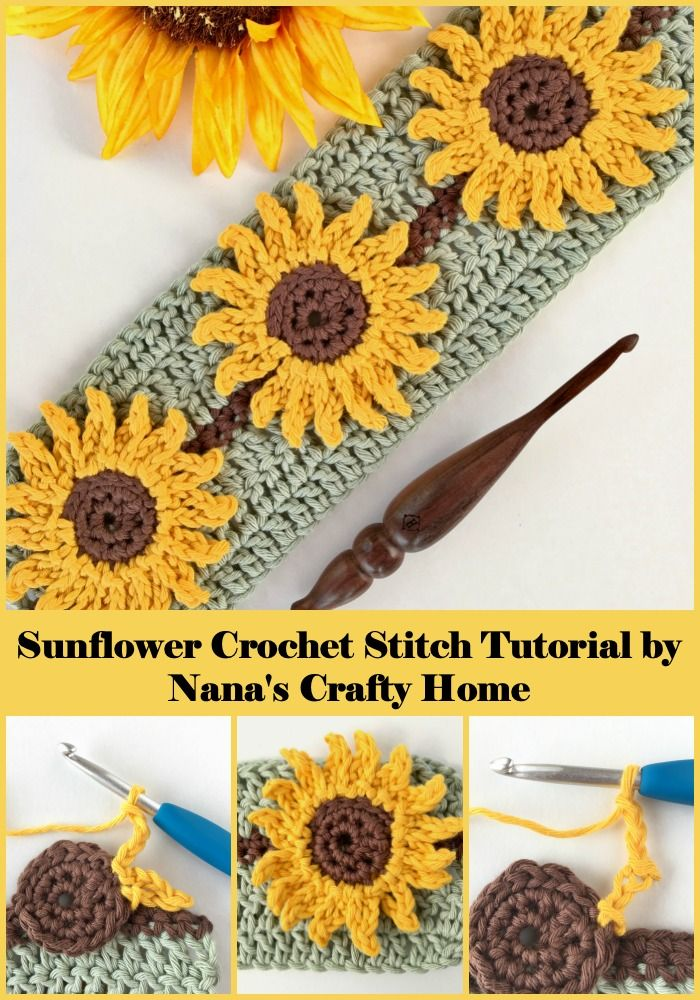 Tutoriel photo et vidéo au point de crochet de tournesol – Nana's Crafty Home   – Renkli tığ işleri