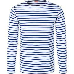 Photo of Armor lux men's long-sleeved shirts, regular fit, cotton, medium blue and white striped Armor-lux