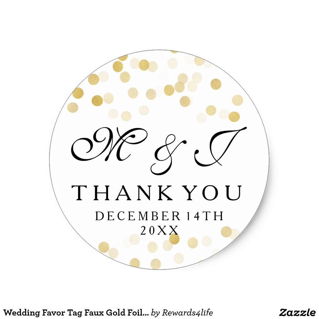 Wedding Favor Tag Faux Gold Foil Glitter Lights   Elegant wedding ...