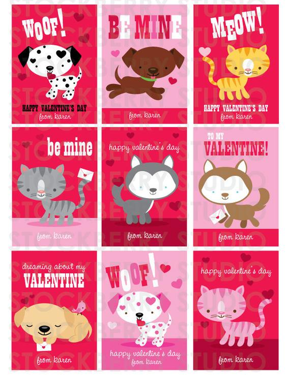 Dog Valentines Card Cats Valentine Card Personalized Kids Valentines Kids Class Valenti Printable Valentines Cards Kids Class Valentines Puppy Valentines