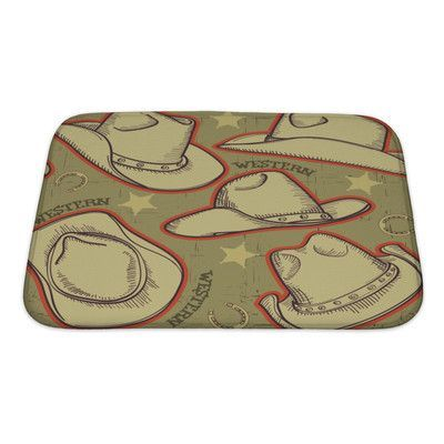 Gear New Vintage Cowboy Hats Pattern for Western Bath Mat/Rug Size:
