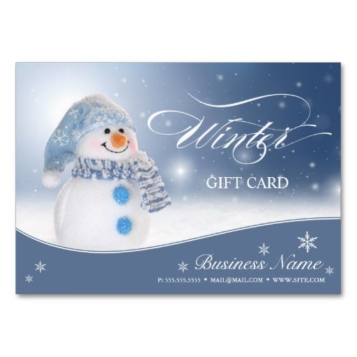 Cute snowman winter and holiday gift certificate business card cute snowman winter and holiday gift certificate business card templates make your own business card reheart Choice Image