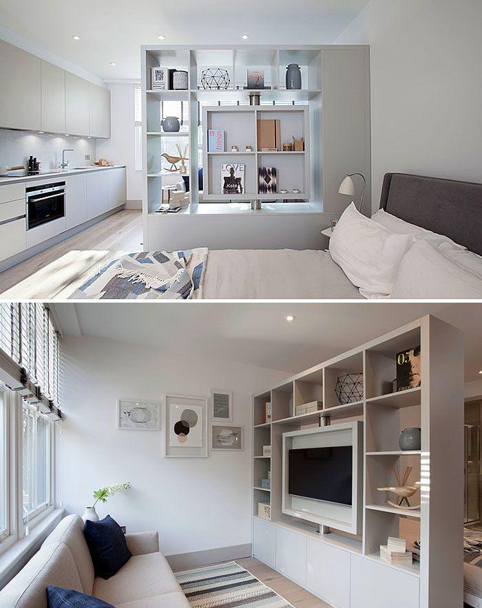 50 Small Studio Apartment Design Ideas (2019) – Modern, Tiny ... on home lighting ideas, studio apt furniture ideas, home interior design ideas,