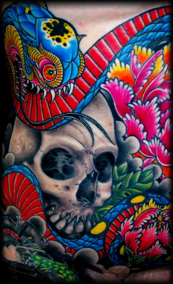 Amazing ColorSkull & Snake TattooJames Vaughn 12 Art