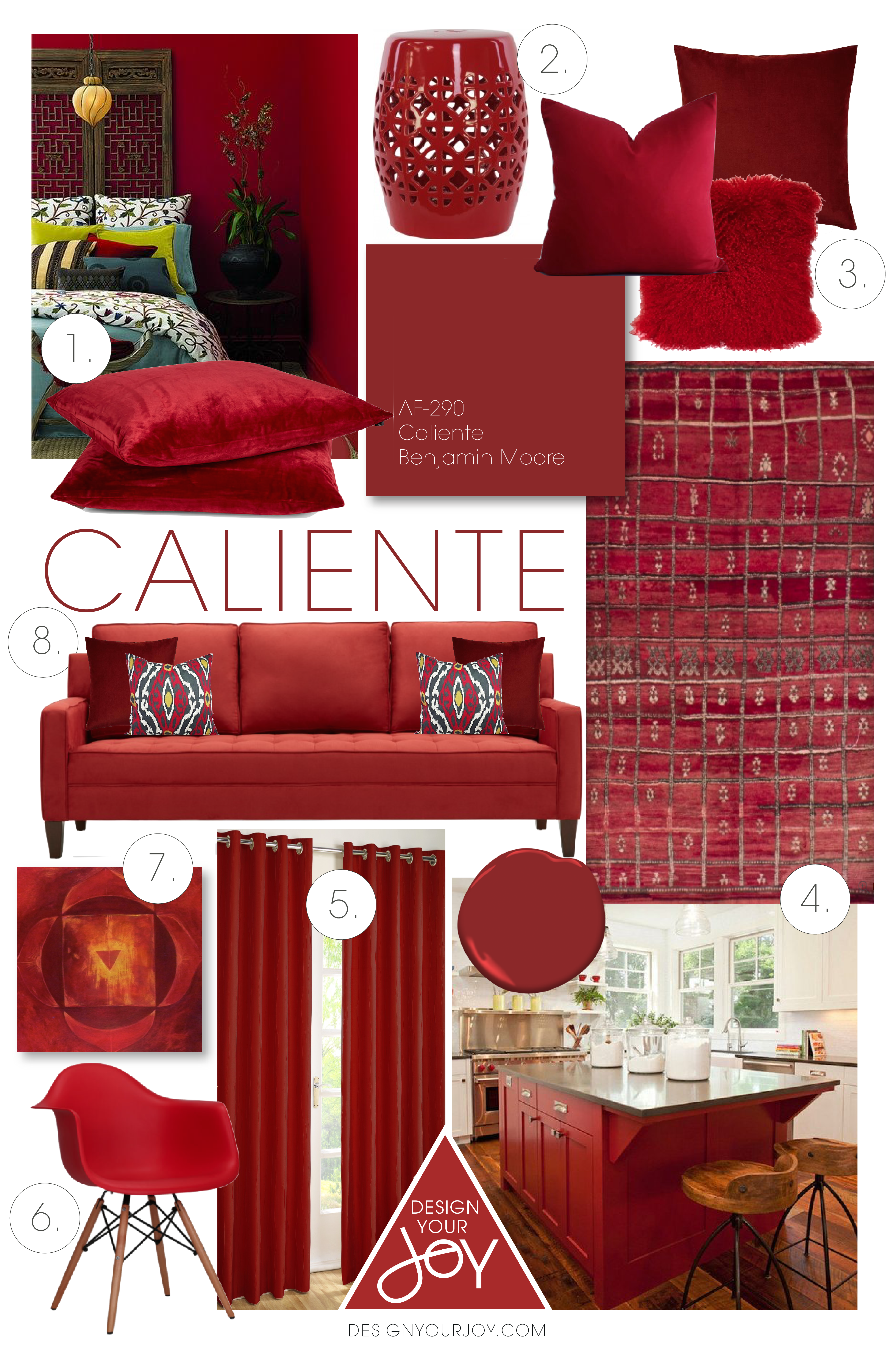 Caliente By Benjamin Moore Was Just Announced To Be The Colour Of 2018 Here Is A Styleboard Showcase This Hot Red And Show You How Use It As