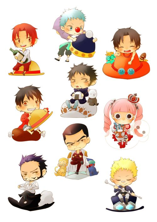 Chibi One Piece Characters Trafalgar D Water Law Monkey D Luffy Red Haired Shanks Buggy The Clown Portg One Piece Comic One Piece Anime One Piece Manga