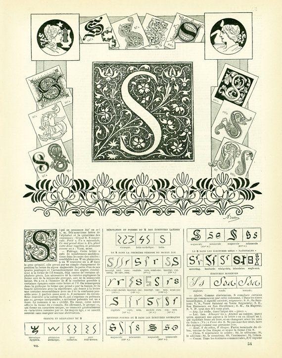 1897 Lettre S Planche Originale Larousse Alphabet Scrapbooking