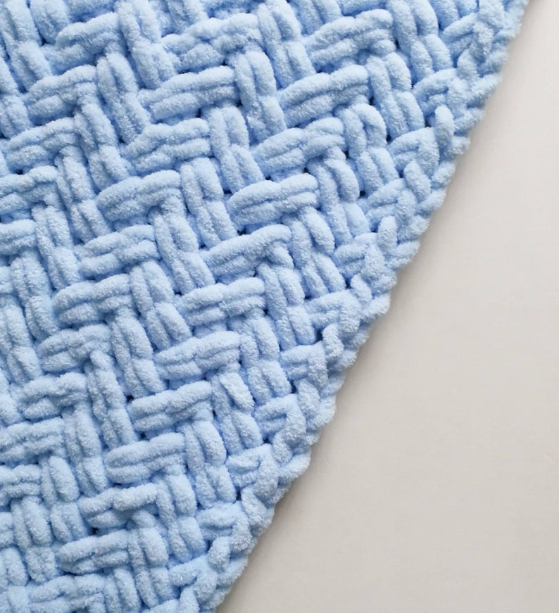 Photo of Knit baby boy blanket, nursery decor, new baby gift, blue plush blanket, baby shower gift, ready to ship
