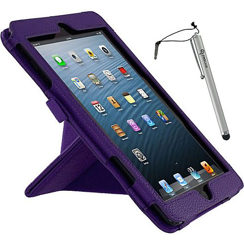 rooCASE Origami Dual-View Vegan Leather Case w/ Stylus for iPad Mini Purple - rooCASE Laptop Sleeves