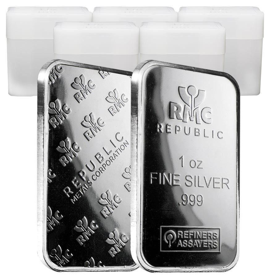 Lot Of 100 1 Oz Republic Metals Rmc Silver Bar 999 Fine 5 Tube Lot Of 20 Silver Bars Silver Republic
