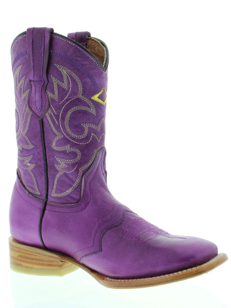 women western boots with purple | Women Ladies Purple Leather Roper Square Cowboy Boots Western Rodeo ...